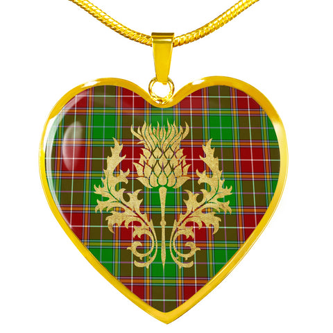 Image of Baxter Modern Tartan Heart Necklace Thistle Gold Hj4