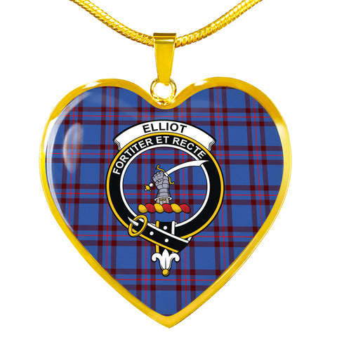 Elliot Modern Tartan Crest Heart Necklace HJ4