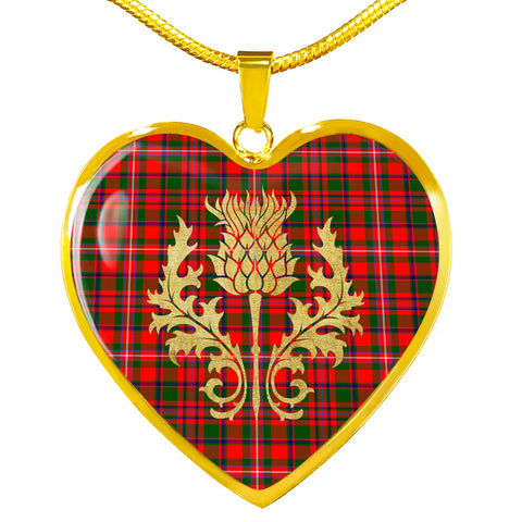 MacKinnon Modern Tartan Heart Necklace Thistle Gold Hj4