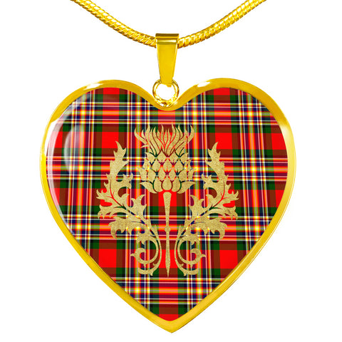 MacGill Modern Tartan Heart Necklace Thistle Gold Hj4