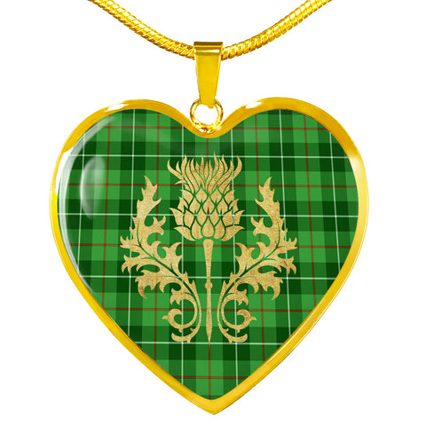 Galloway District Tartan Heart Necklace Thistle Gold Hj4