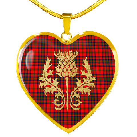 Image of Matheson Modern Tartan Heart Necklace Thistle Gold Hj4