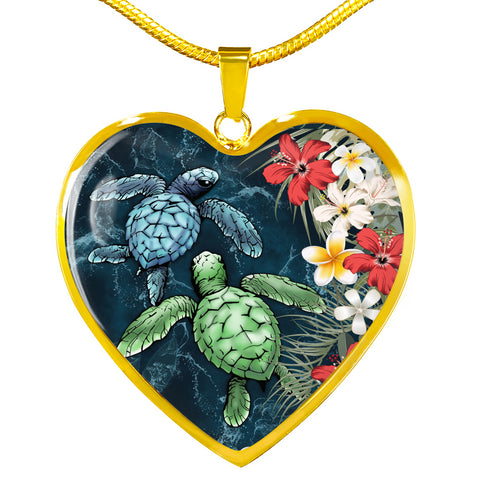 Hawaii Heart Shaped Necklace - Sea Turtle Tropical Hibiscus And Plumeria | Love The World
