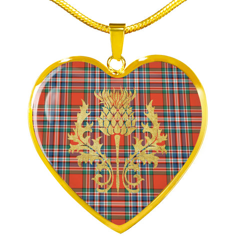 MacFarlane Ancient Tartan Heart Necklace Thistle Gold Hj4