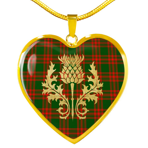 Image of Menzies Green Modern Tartan Heart Necklace Thistle Gold Hj4