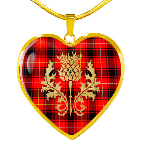 Image of MacIntyre Modern Tartan Heart Necklace Thistle Gold Hj4
