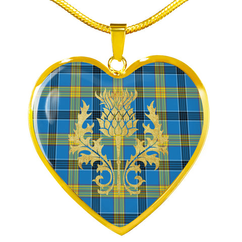 Image of Laing Tartan Heart Necklace Thistle Gold Hj4
