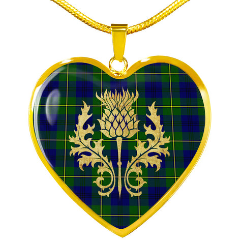 Johnstone Tartan Heart Necklace Thistle Gold Hj4
