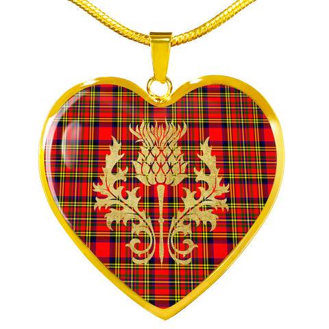 Hepburn Tartan Heart Necklace Thistle Gold Hj4