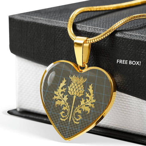 Haig Check Tartan Heart Necklace Thistle Gold Hj4