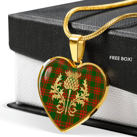 Menzies Green Modern Tartan Heart Necklace Thistle Gold Hj4