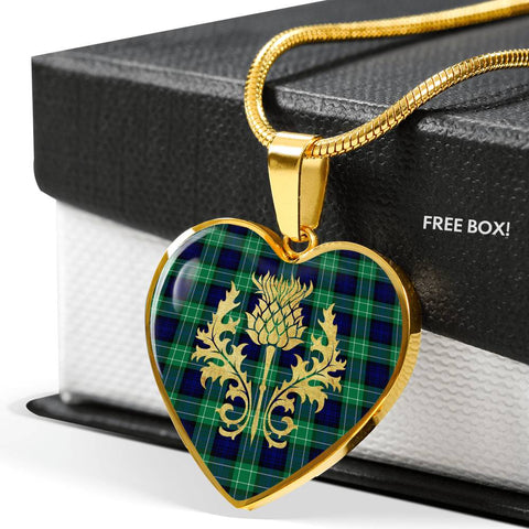 Abercrombie Tartan Heart Necklace Thistle Gold Hj4