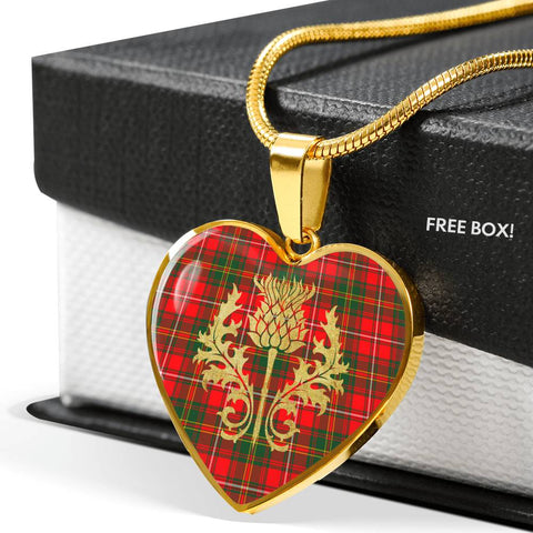 Hay Modern Tartan Heart Necklace Thistle Gold Hj4