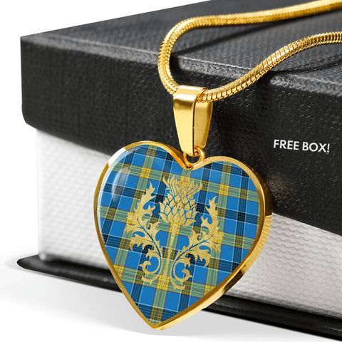 Laing Tartan Heart Necklace Thistle Gold Hj4