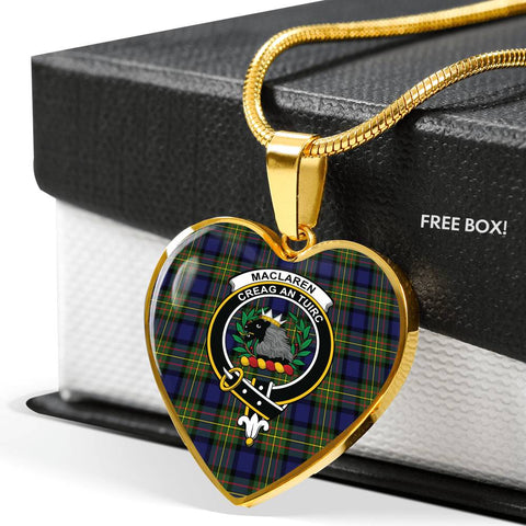 Image of MacLaren Modern Tartan Crest Heart Necklace