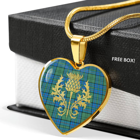 Image of Lockhart Tartan Heart Necklace Thistle Gold Hj4