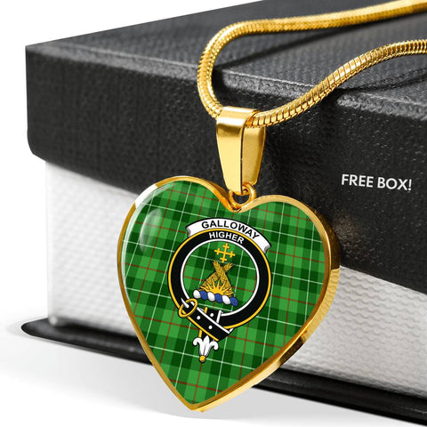 Galloway District Tartan Crest Heart Necklace