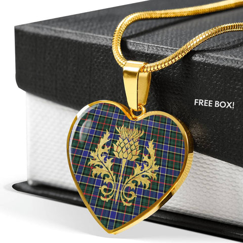 Ogilvie Hunting Modern Tartan Heart Necklace Thistle Gold Hj4