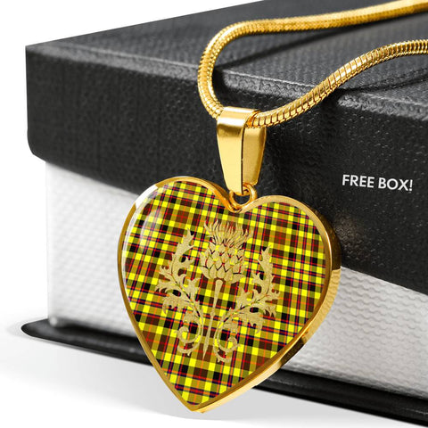 Jardine Tartan Heart Necklace Thistle Gold Hj4