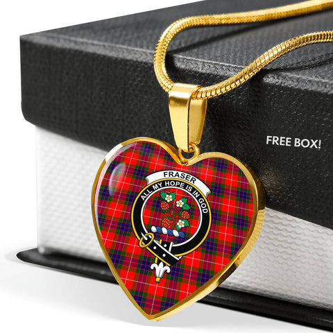 Image of Fraser Modern Tartan Crest Heart Necklace