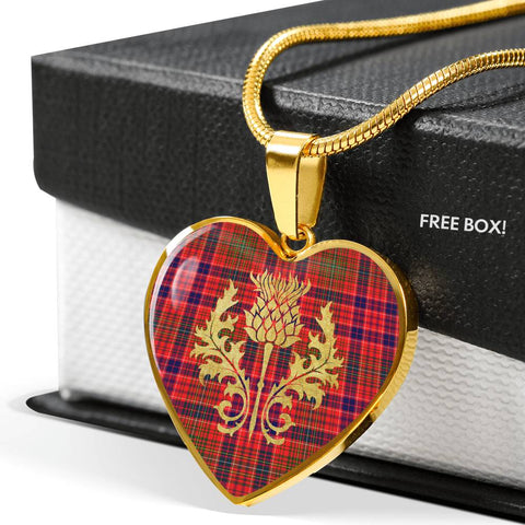 Lumsden Modern Tartan Heart Necklace Thistle Gold Hj4