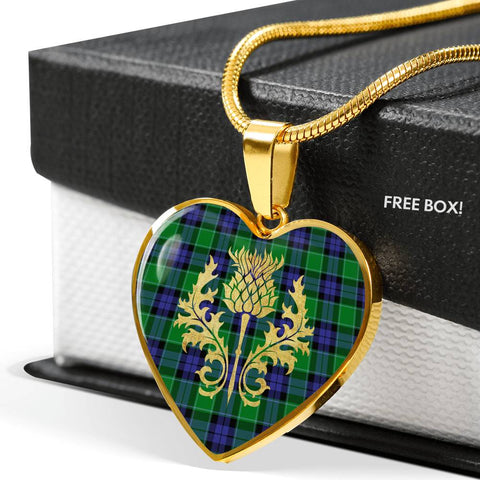 Image of Graham of Menteith Modern Tartan Heart Necklace Thistle Gold Hj4