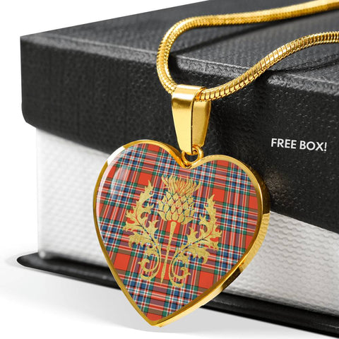 Image of MacFarlane Ancient Tartan Heart Necklace Thistle Gold Hj4