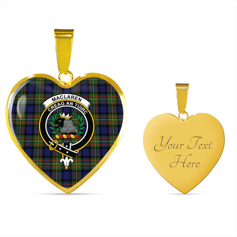 Image of MacLaren Modern Tartan Crest Heart Necklace HJ4