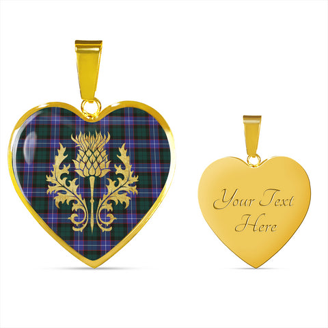 Image of Hunter Modern Tartan Heart Necklace Thistle Gold Hj4