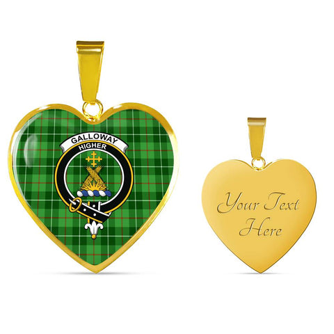 Galloway District Tartan Crest Heart Necklace HJ4