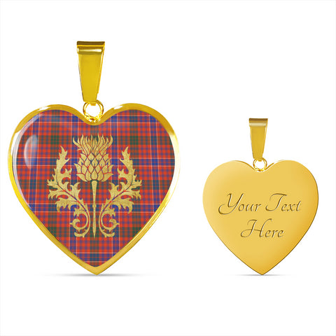 MacRae Ancient Tartan Heart Necklace Thistle Gold Hj4