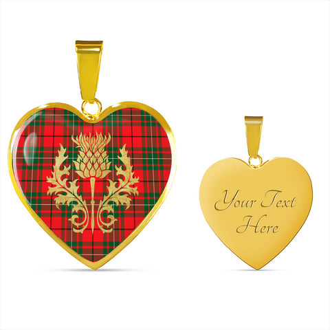 Image of MacAulay Modern Tartan Heart Necklace Thistle Gold Hj4