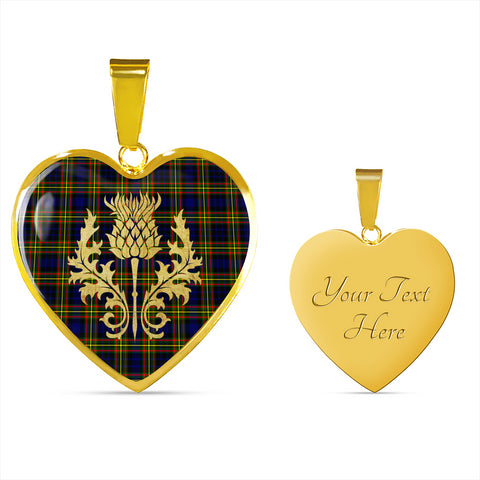 MacLellan Modern Tartan Heart Necklace Thistle Gold Hj4