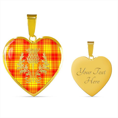 MacMillan Clan Tartan Heart Necklace Thistle Gold Hj4