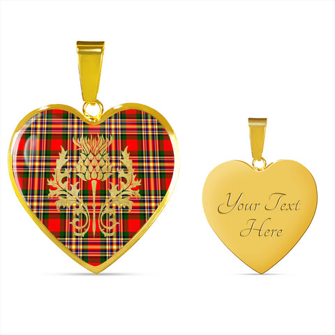 Image of MacGill Modern Tartan Heart Necklace Thistle Gold Hj4