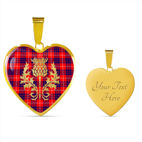 Hamilton Modern Tartan Heart Necklace Thistle Gold Hj4