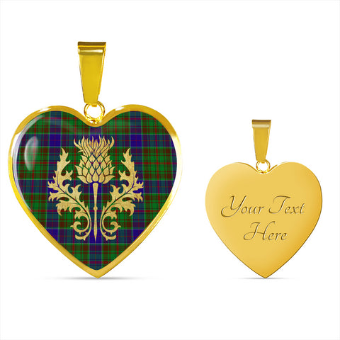 adam Tartan Heart Necklace Thistle Gold Hj4