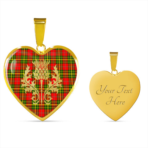 Leask Tartan Heart Necklace Thistle Gold Hj4
