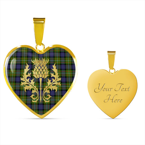 Fergusson Modern Tartan Heart Necklace Thistle Gold Hj4