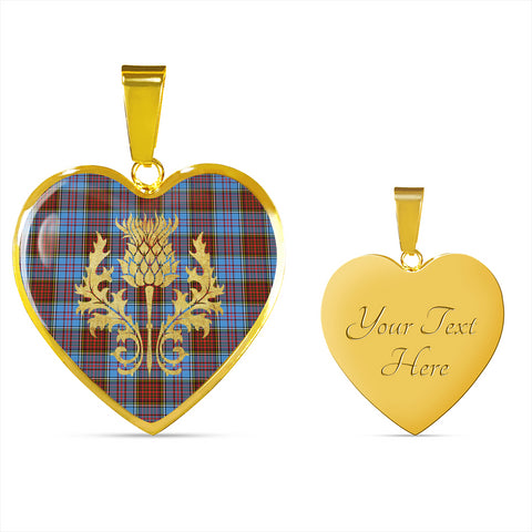Anderson Modern Tartan Heart Necklace Thistle Gold Hj4