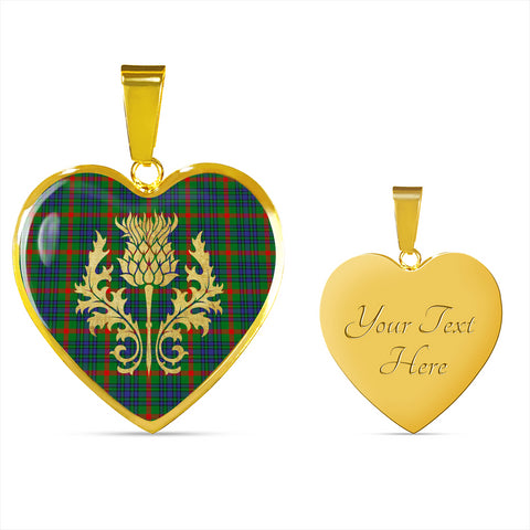 Image of Aiton Tartan Heart Necklace Thistle Gold Hj4