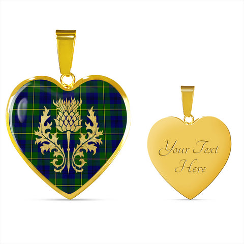 Image of Johnstone Tartan Heart Necklace Thistle Gold Hj4