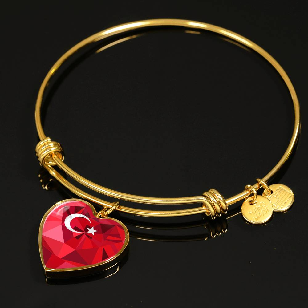 Turkey Jewelry - Flag Crystal Heart (Necklace/Bangle) A1