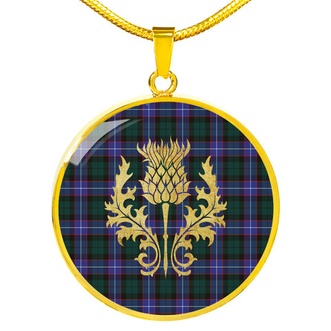 Guthrie Modern Tartan Circle Necklace Thistle Gold Hj4