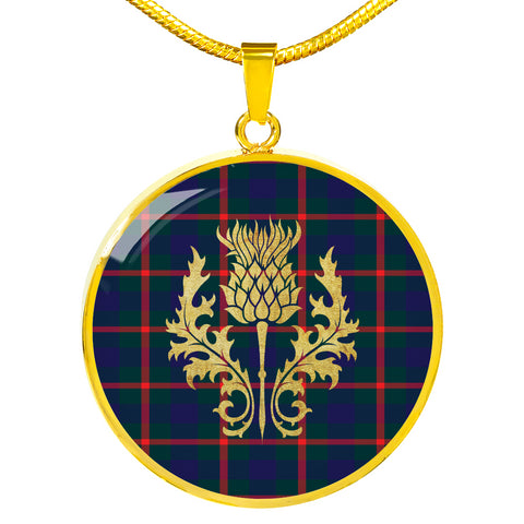 Agnew Modern Tartan Circle Necklace Thistle Gold Hj4