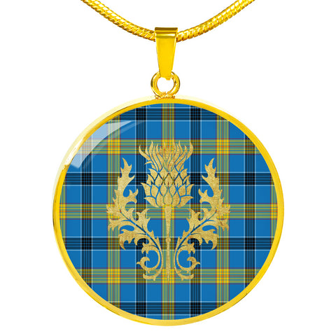 Laing Tartan Circle Necklace Thistle Gold Hj4