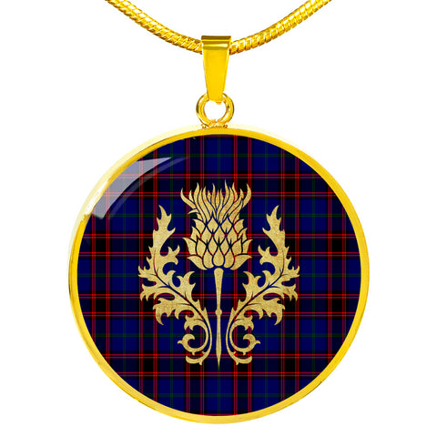 Home Modern Tartan Circle Necklace Thistle Gold Hj4