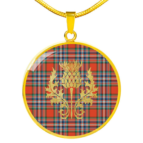 Image of MacFarlane Ancient Tartan Circle Necklace Thistle Gold Hj4