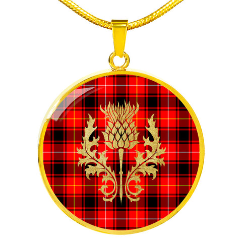Image of MacIntyre Modern Tartan Circle Necklace Thistle Gold Hj4