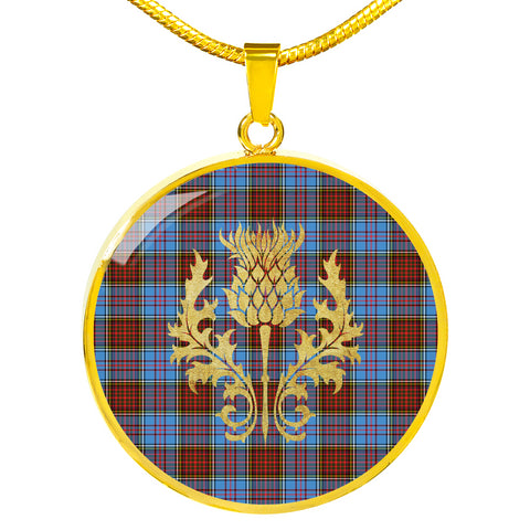 Anderson Modern Tartan  Circle Necklace Thistle Gold Hj4